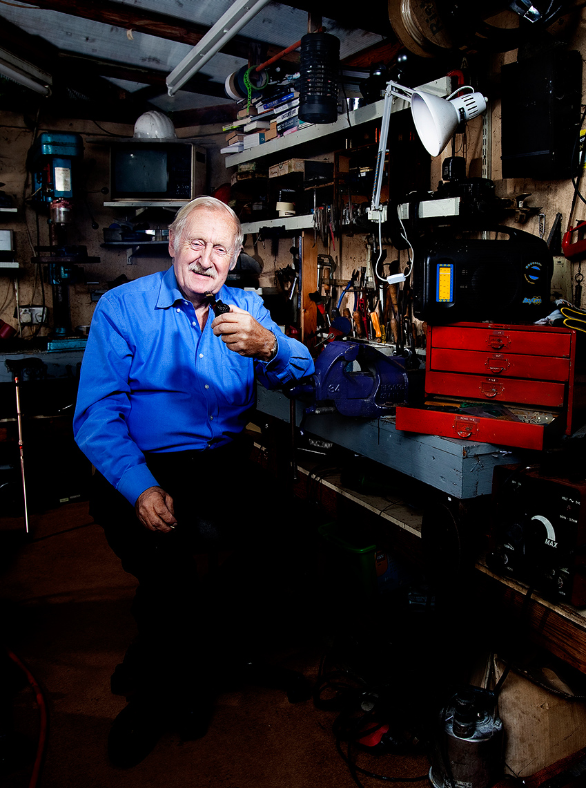 Editorial Portrait of Inventor Trevor Baylis shot in his home workshop.