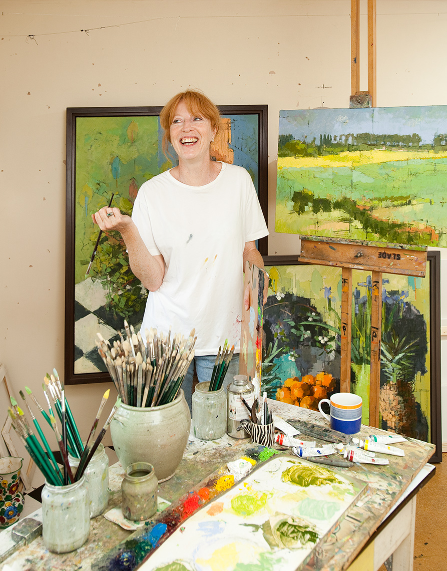 landscapes artist Jill Barthopre. Editorial portrait shot in her home studio.